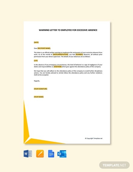 Free Warning Letter To Employee For Excessive Absence