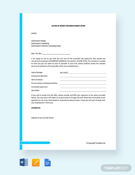 Free Letter of Intent for Employment Offer