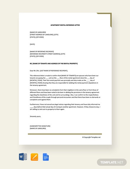 Free Apartment Rental Reference Letter