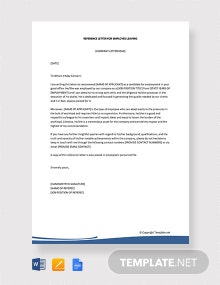 Free Reference Letter for Employee Leaving