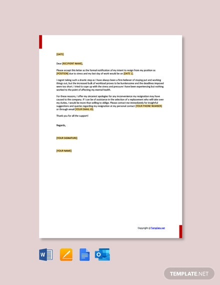 Free Immediate Resignation Letter Due to Stress