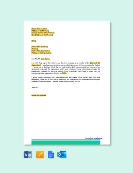 Membership Resignation Letter
