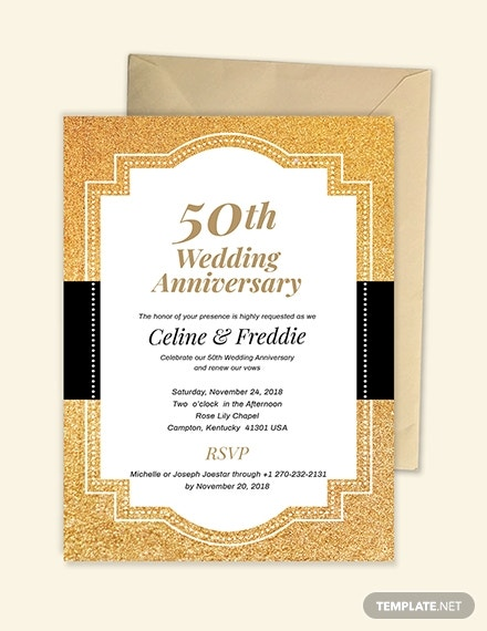 50th Wedding Anniversary Invitation Template Download 93