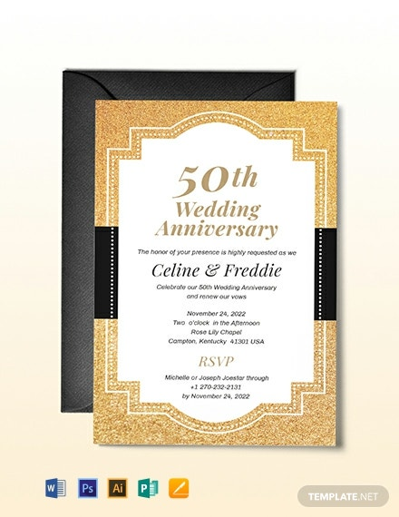 50th Fall Wedding Anniversary Invitation Template