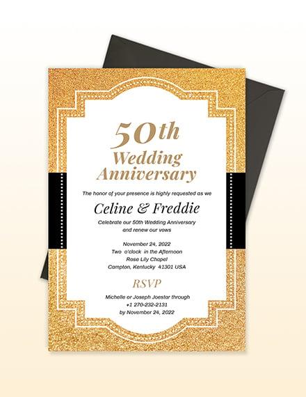 Sample th Wedding Anniversary Invitation