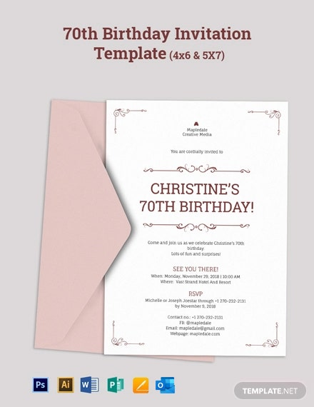 Surprise 70th Birthday Invitation Template