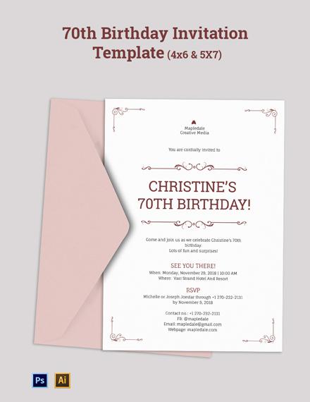 Surprise 70th Birthday Invitation Template