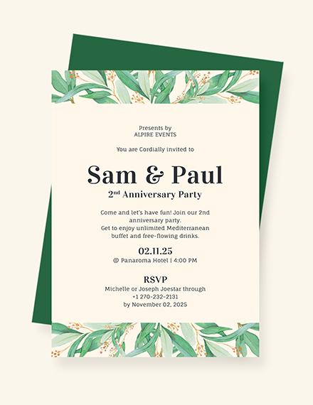 Sample Anniversary Invitation