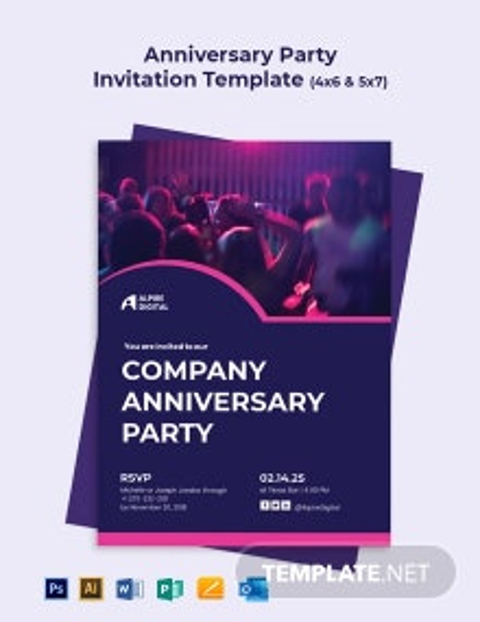 Anniversary Party Invitation Template