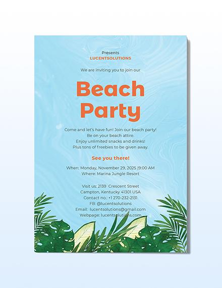 Beach Party Invitation Download