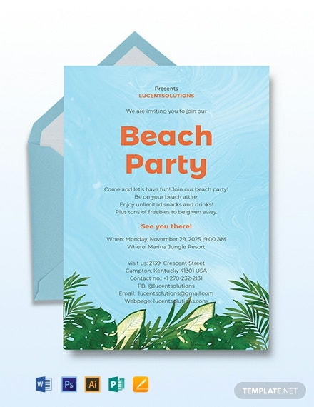 Beach Party Invitation Template Download 241 Invitations In