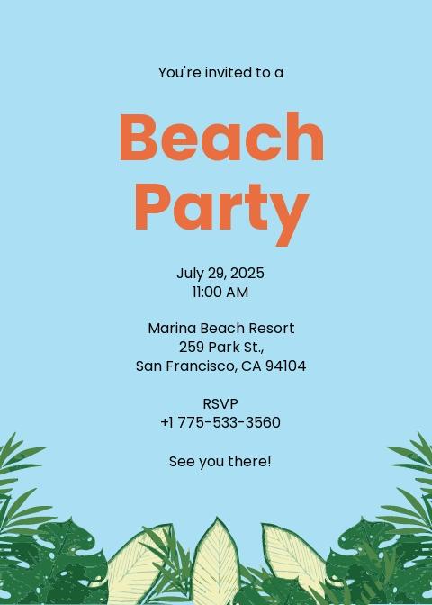 Beach Party Invitation Template.jpe