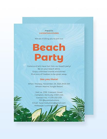 Sample Beach Party Invitation