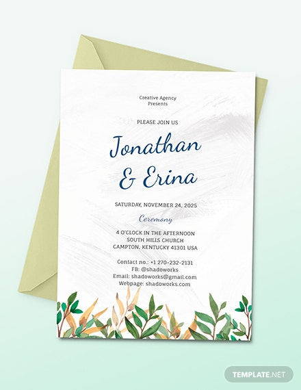 Calligraphy Wedding Invitation Download