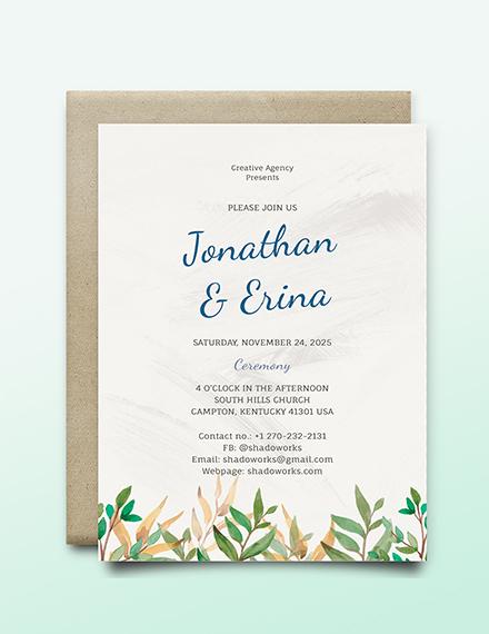 Calligraphy Wedding Invitation Template