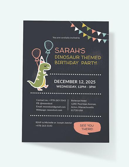 Chalkboard Dinosaur Birthday Invitation Download