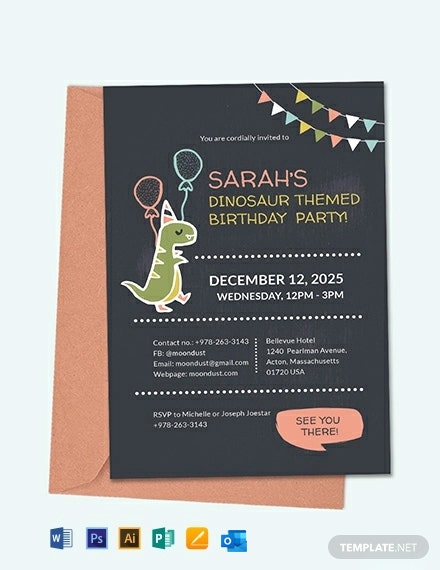 Chalkboard Dinosaur Birthday Invitation Template