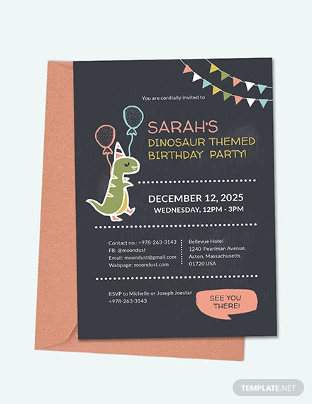 Chalkboard Dinosaur Birthday Invitation Template