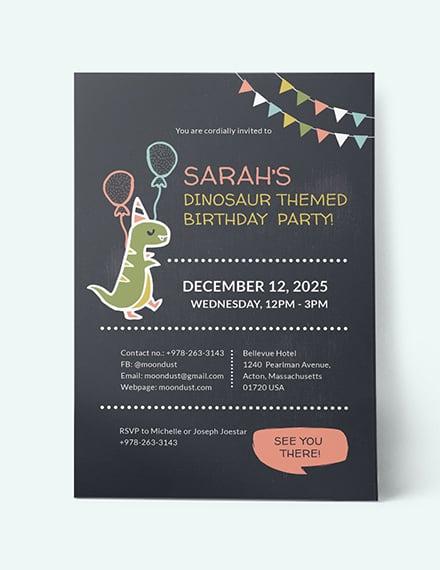 Sample Chalkboard Dinosaur Birthday Invitation