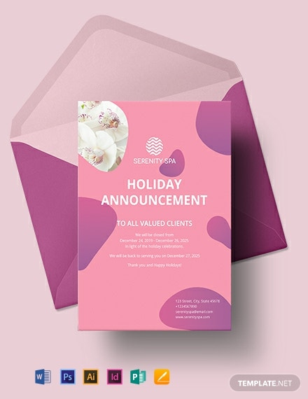 Spa Announcement Template