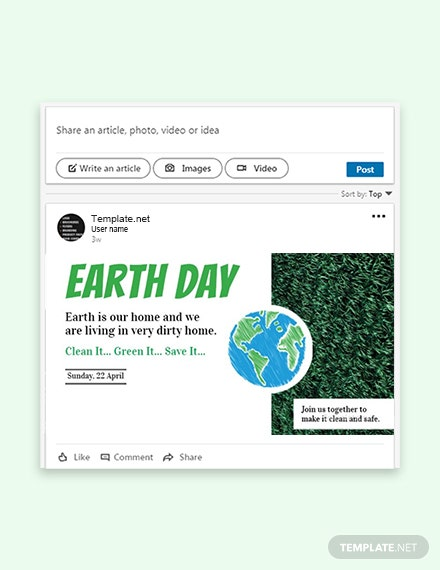 Free Earth Day LinkedIn Post Template