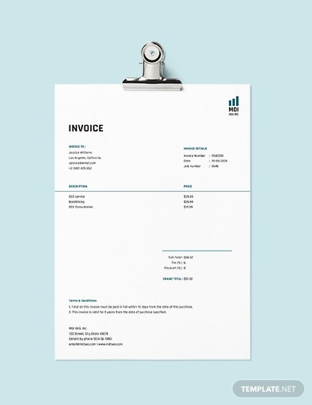 Sample SEO Invoice
