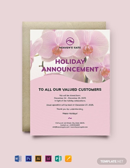 Massage Announcement Template