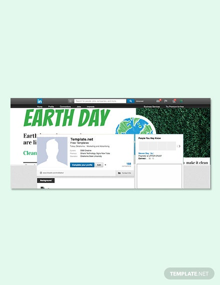 Free Earth Day LinkedIn Profile Banner Template