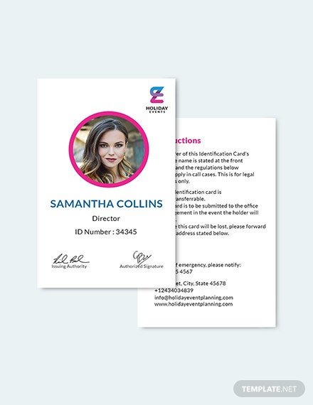 Sample Event Planner ID Card