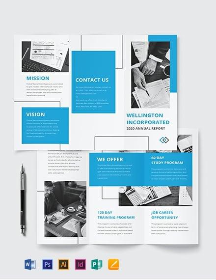 Annual Report Tri-Fold Brochure Template