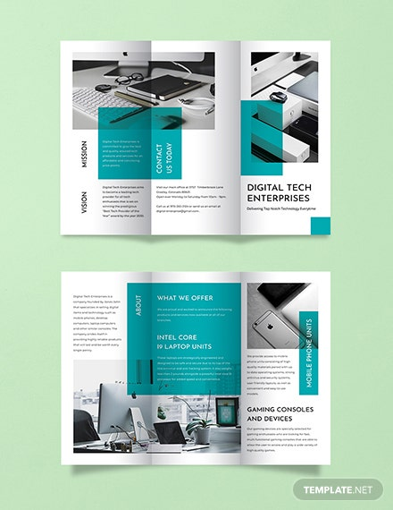 technology tri fold brochure template 440