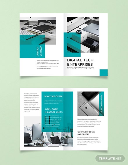 technology bi fold brochure template 440