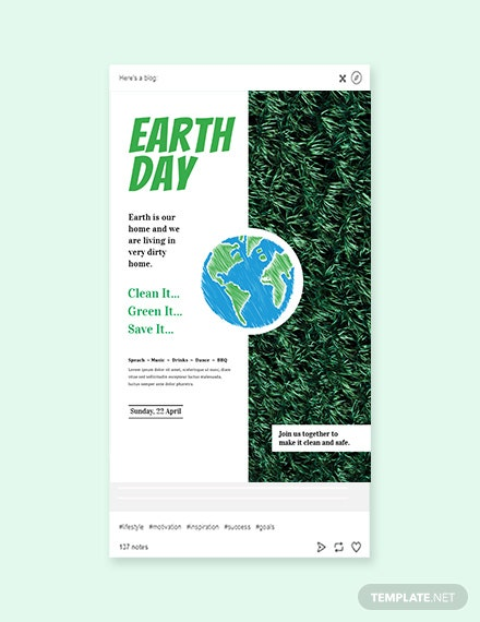 Free Earth Day Tumblr Post Template