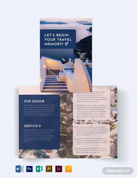 Travel Company Bi-Fold Brochure Template