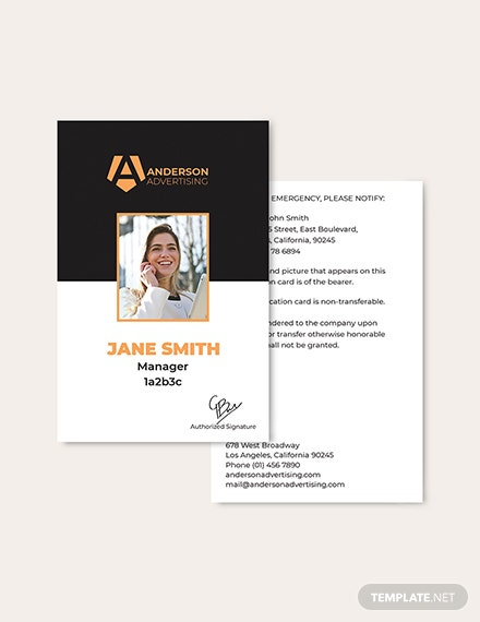 Sample Advertising Agency ID Card