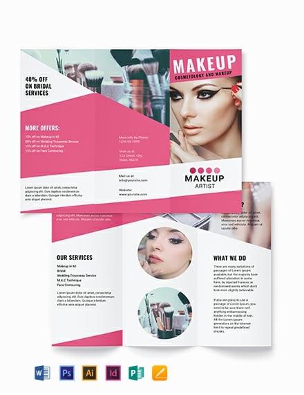 Makeup Artist Tri-Fold Brochure Template