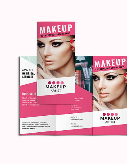 Sample Makeup Artist Tri Fold Brochure