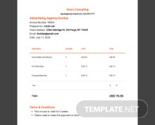 Advertising agency Invoice Template