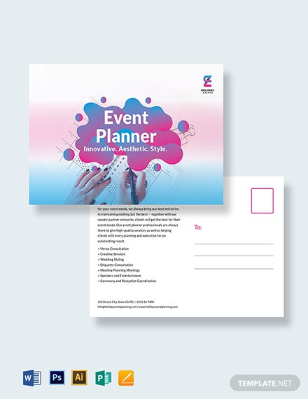 Event Planner Postcard Template