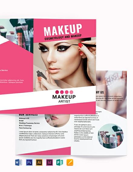 Makeup Artist Bi Fold Brochure Template