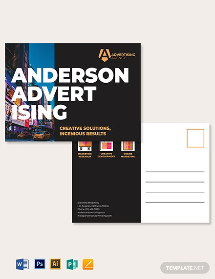 Advertising agency Postcard Template