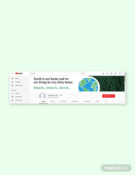 Free Earth Day YouTube Channel Cover Template