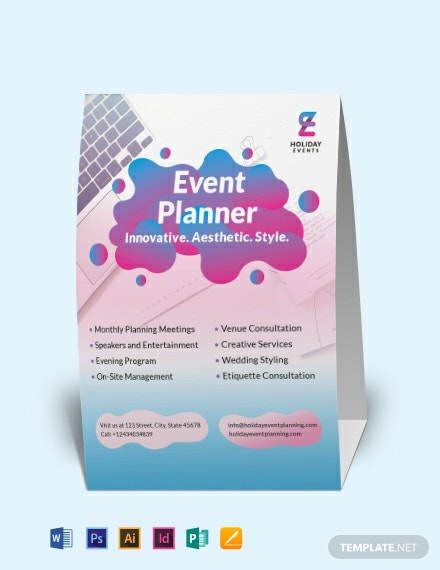 Event Planner Table Tent Template