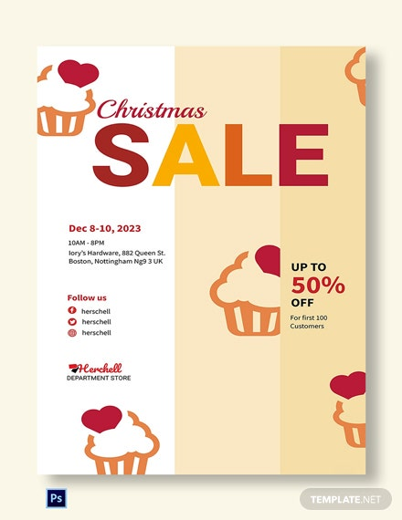 Free Christmas Bake Sale Poster Template