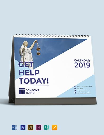 Law Firm Desk Calendar Template