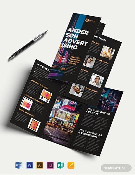 Advertising Agency Tri-Fold Brochure Template
