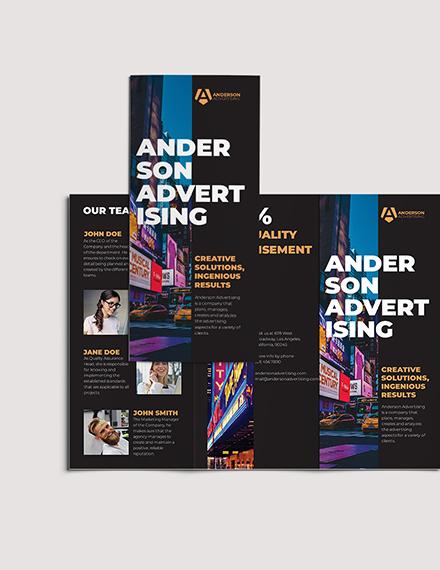 Sample Advertising agency Tri Fold Brochure