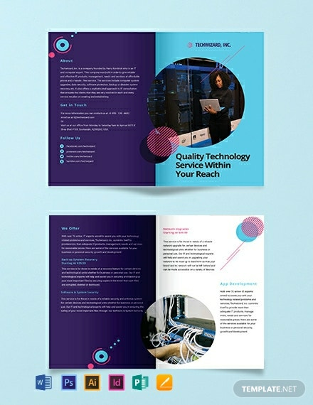 IT Company Bi-Fold Brochure Template