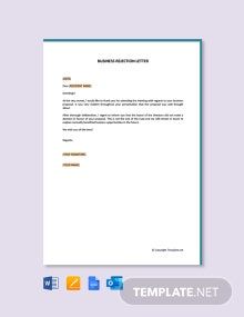 Free Business Rejection Letter