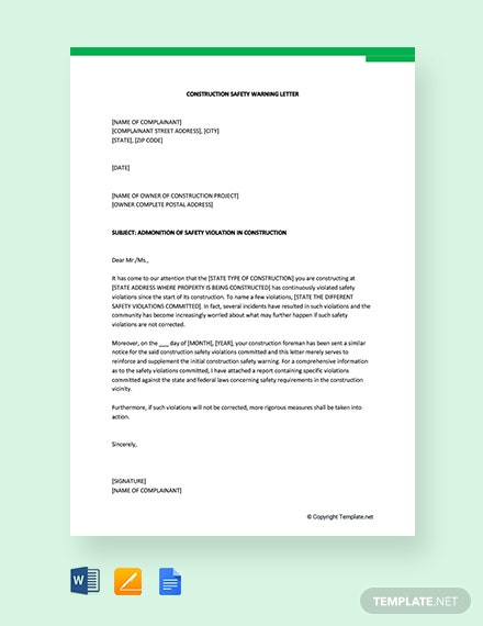 Free Construction Safety Warning Letter